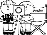 Kids Directing Behind Movie Camera Kids Directing Kids Coloring Page