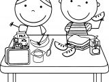 Kids Eating Lunch Kids Coloring Page