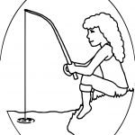 Kids Girl Fishing Coloring Page