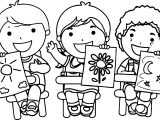 Kids Holding Pictures Coloring Page
