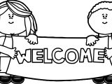 Kids Holding Welcome Sign Coloring Page