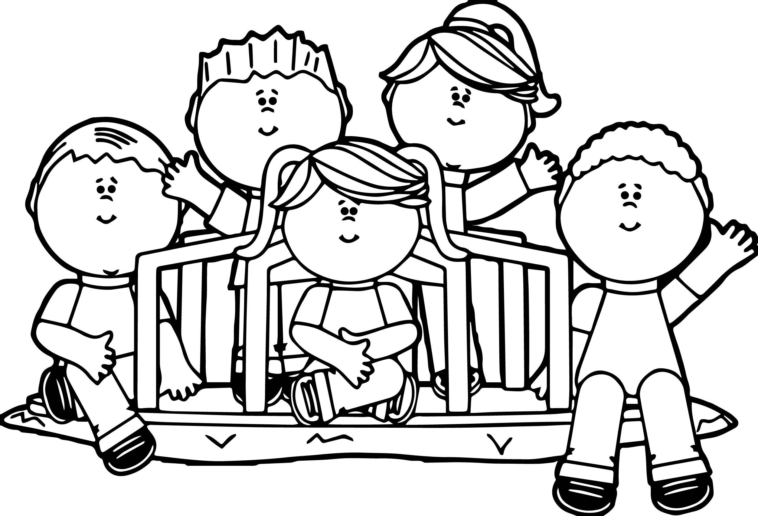Kids In Park Coloring Page