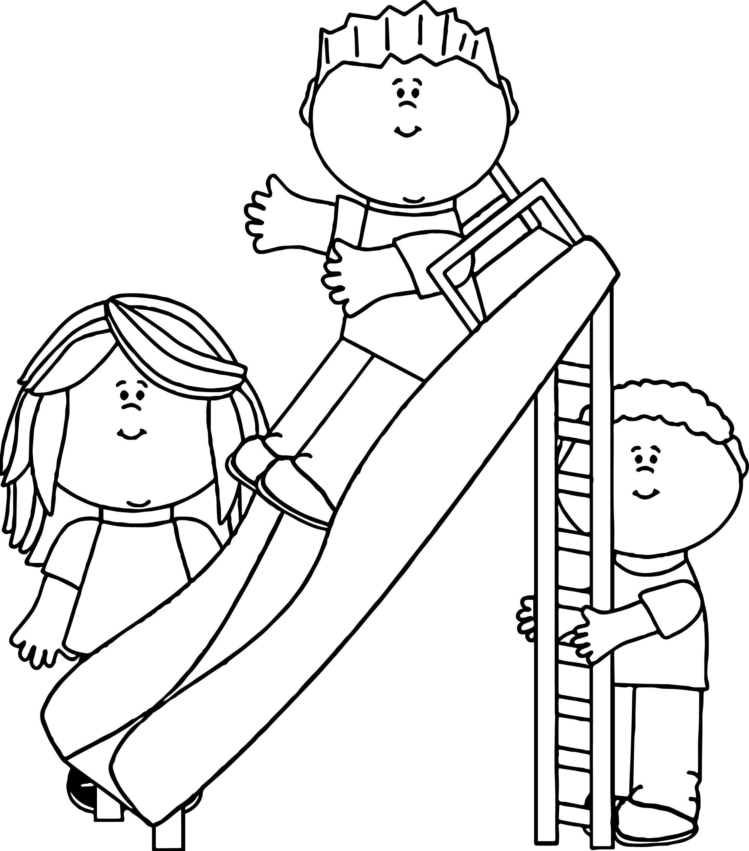 Kids In The Park Coloring Page | Wecoloringpage