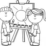 Kids Making Painting Coloring Page