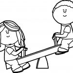 Kids On Teeter Totter Coloring Page