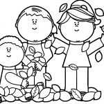 Kids Playing In Leaves Coloring Page