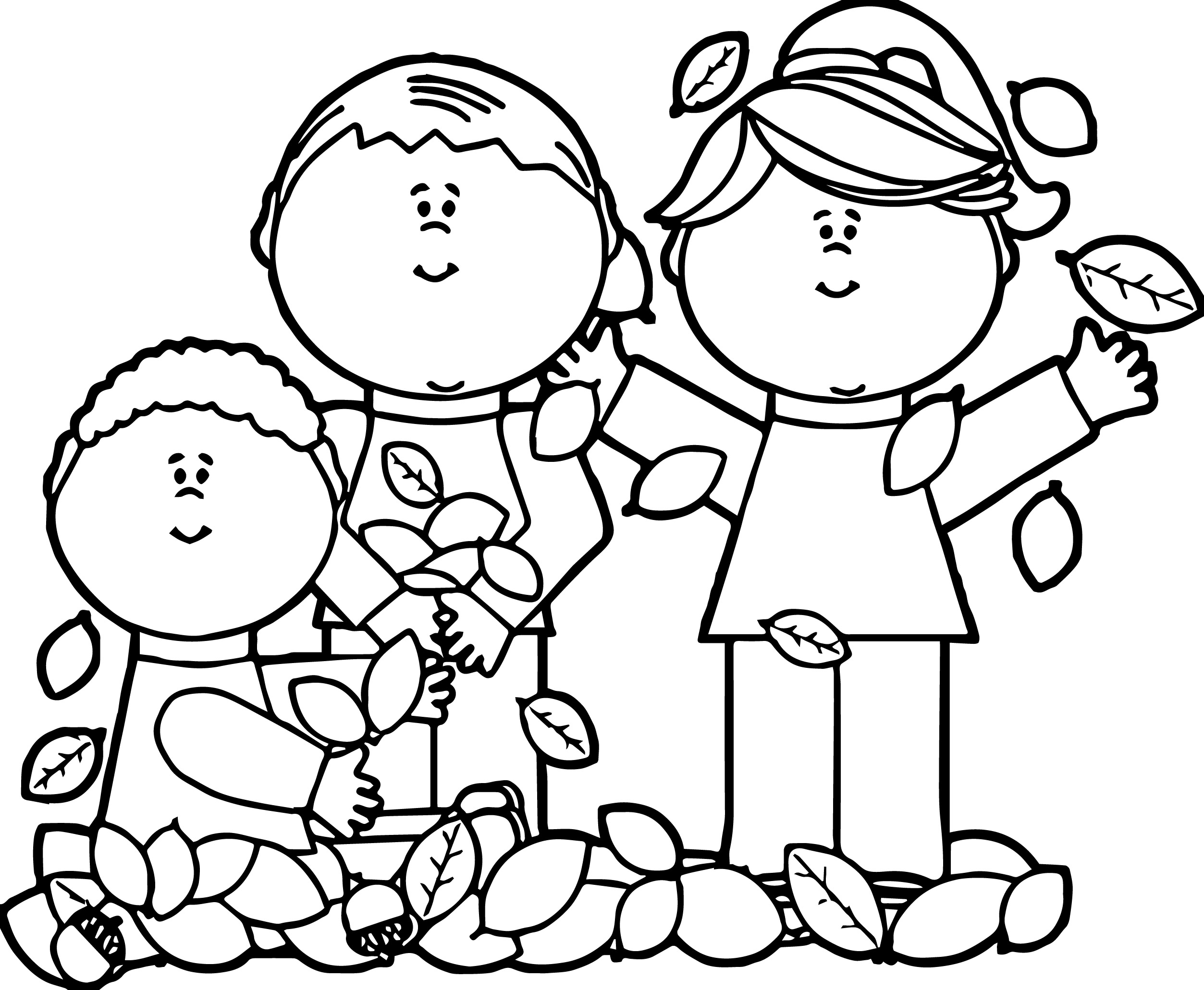 Kids Playing In Leaves Coloring Page Wecoloringpage Coloring Page For Kid