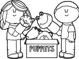 Kids Playing With Puppets Coloring Page