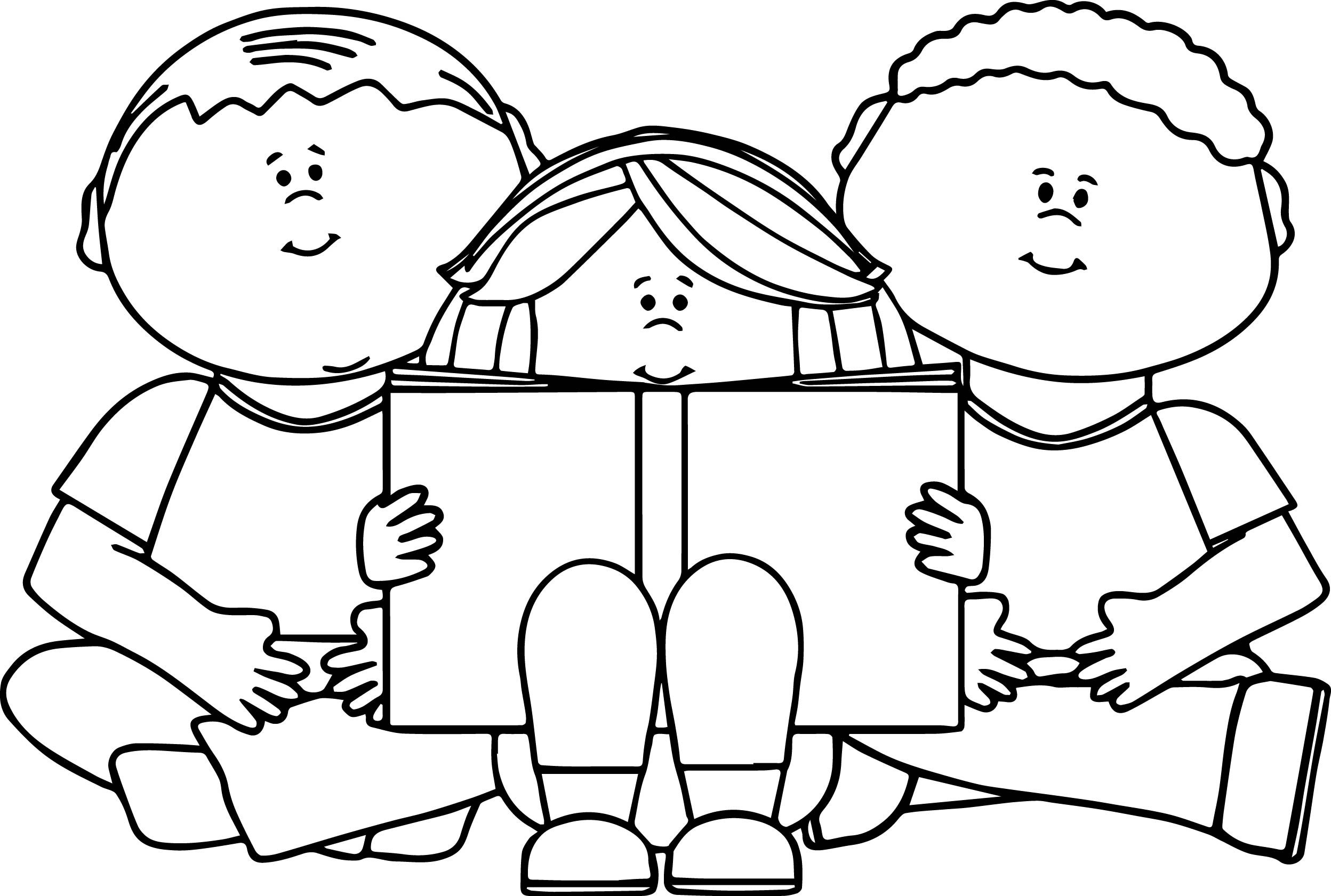 Kids reading book coloring page for Coloring page book