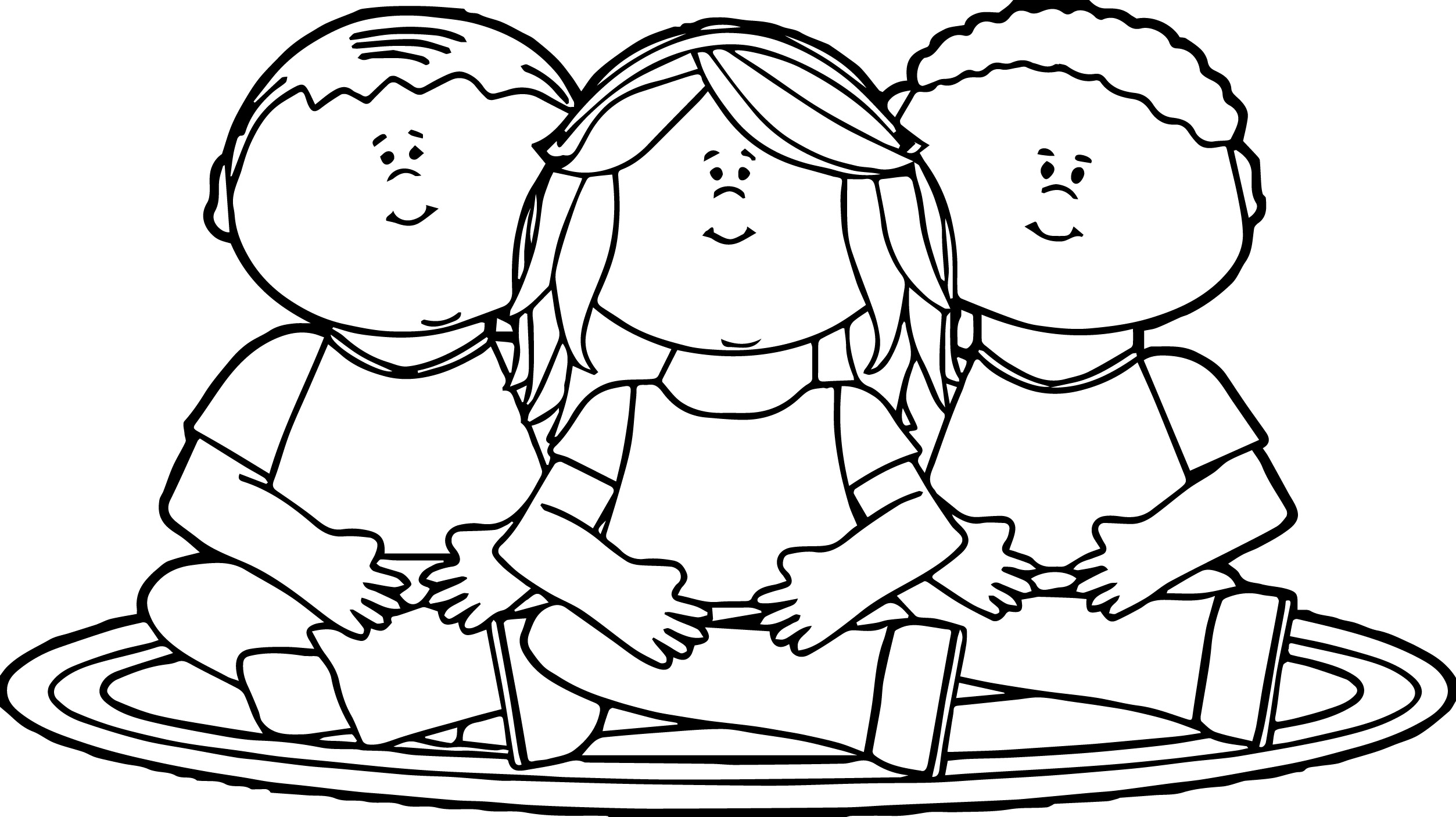 Kids Sitting On School Rug Kids Coloring Page