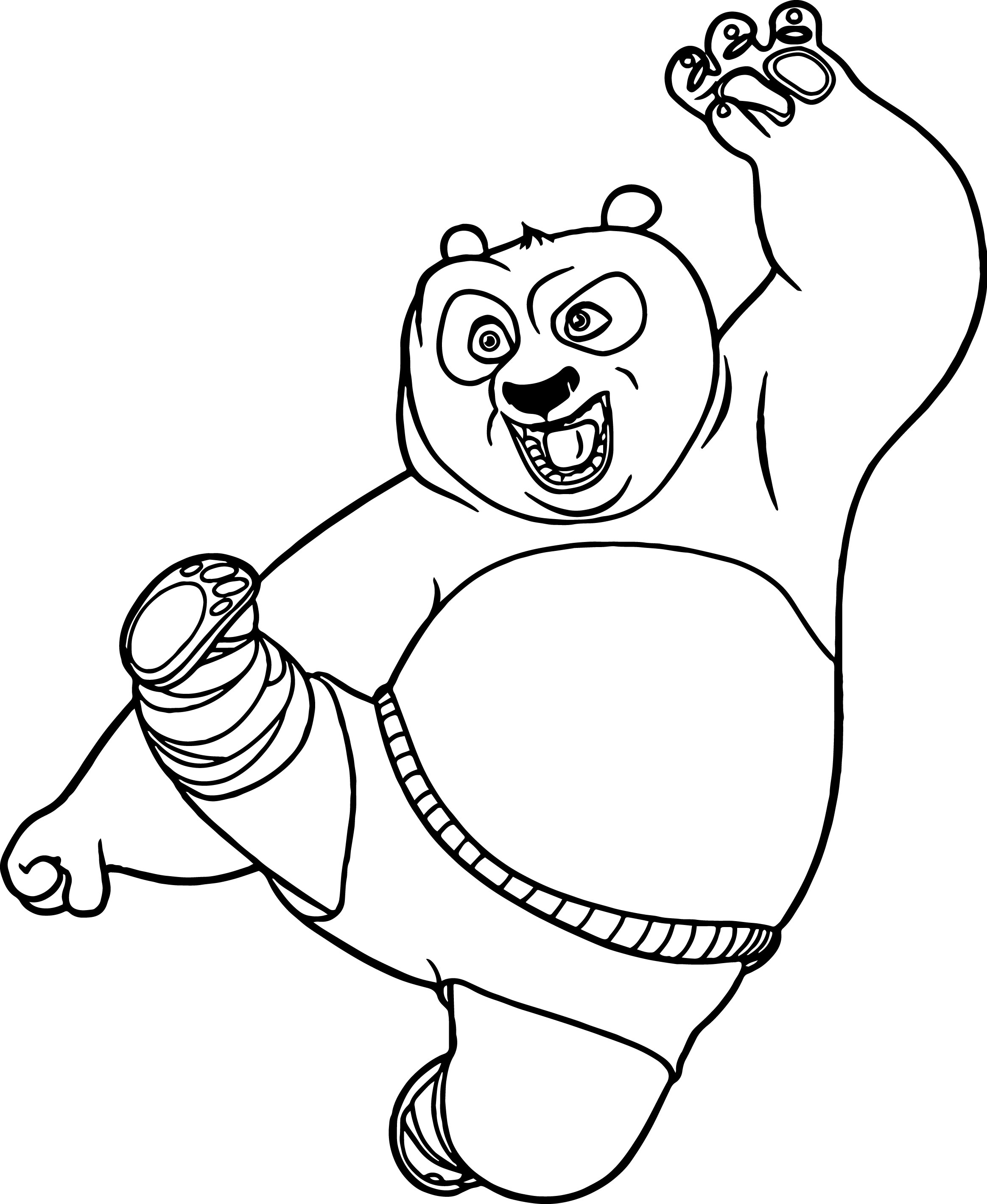 Kung fu panda kick coloring page for Coloring pages panda