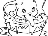 Making Bath Elephant Coloring Page