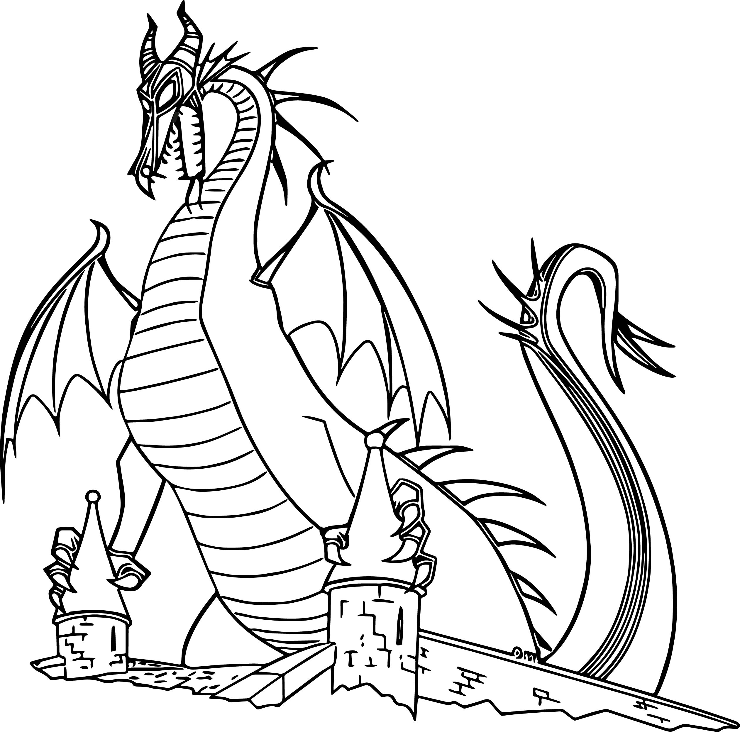 maleficent dragon castle cartoon coloring page wecoloringpage