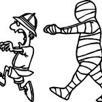 Man Escape From Egypt Mummy Coloring Page