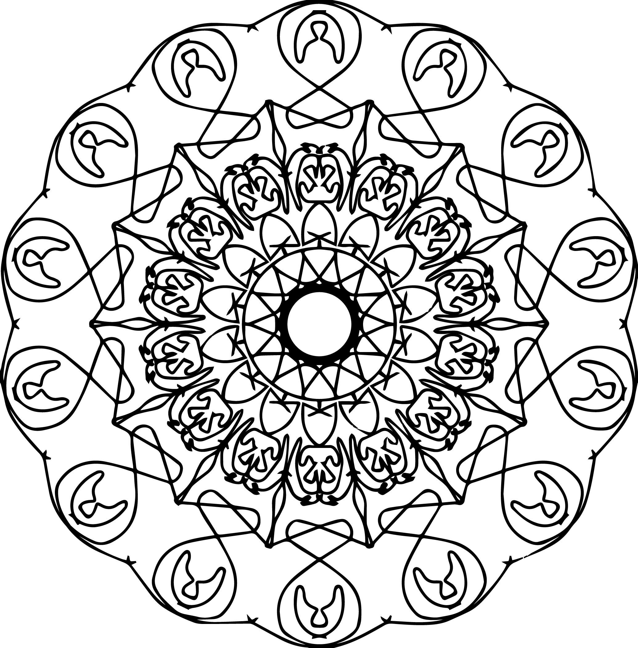 Mandala Line Coloring Page