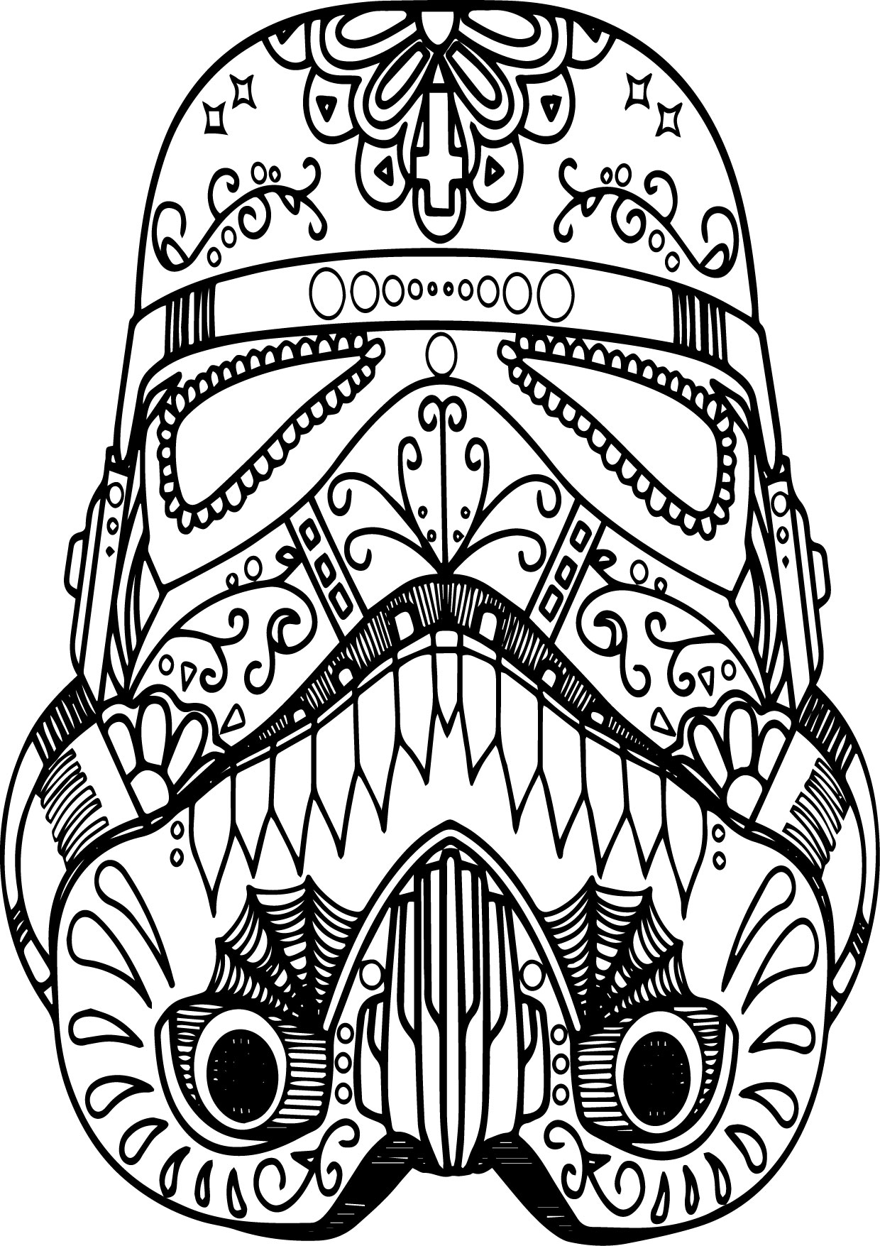 Mandala Mask Skull Coloring Page | Wecoloringpage