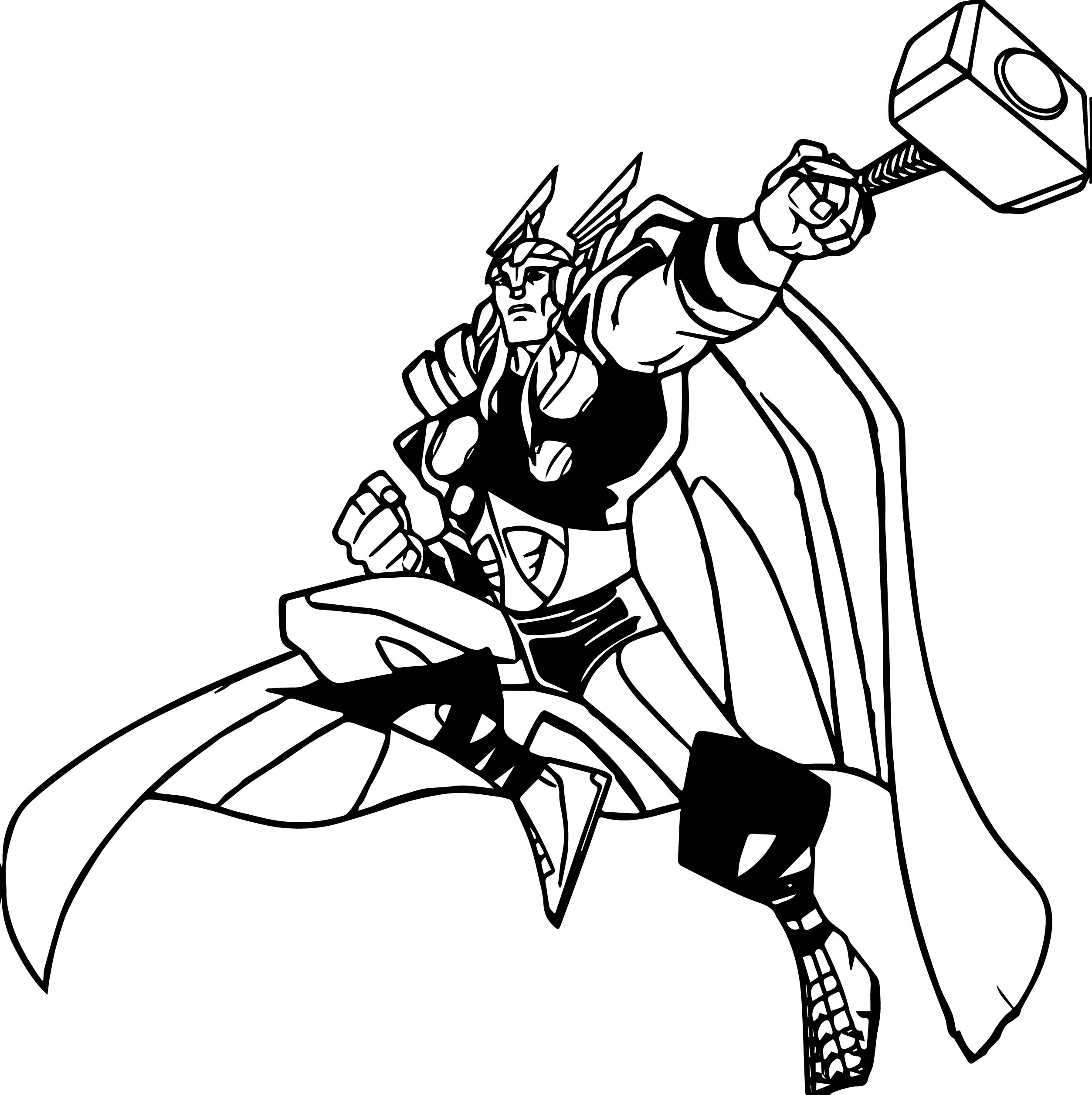 Marvels Avengers Thor Cartoon Coloring Page