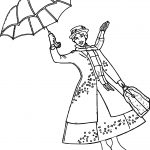 Mary Poppins Girl Umbrella Coloring Page