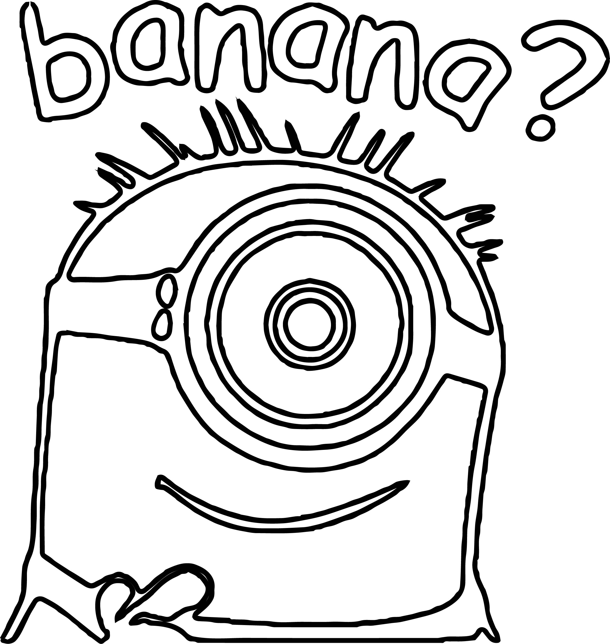 Minion Banana Question Coloring Page | Wecoloringpage.com