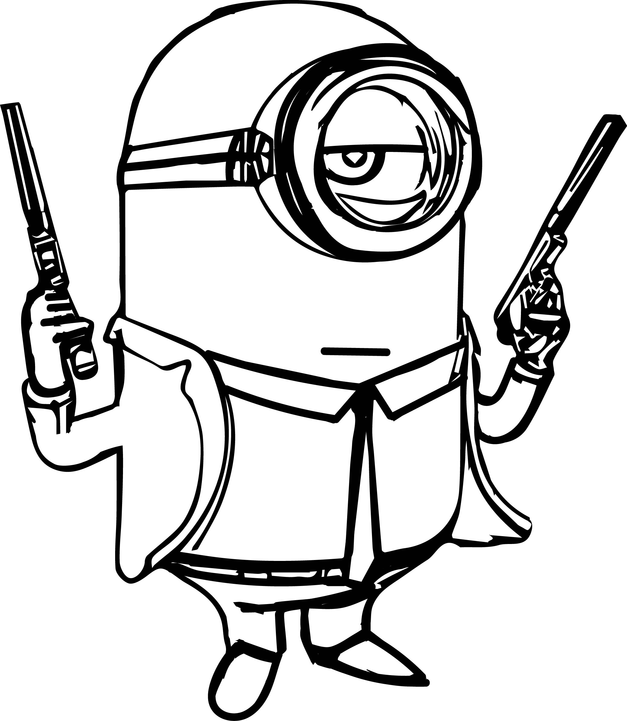 Minion gun coloring page for Free coloring pages guns