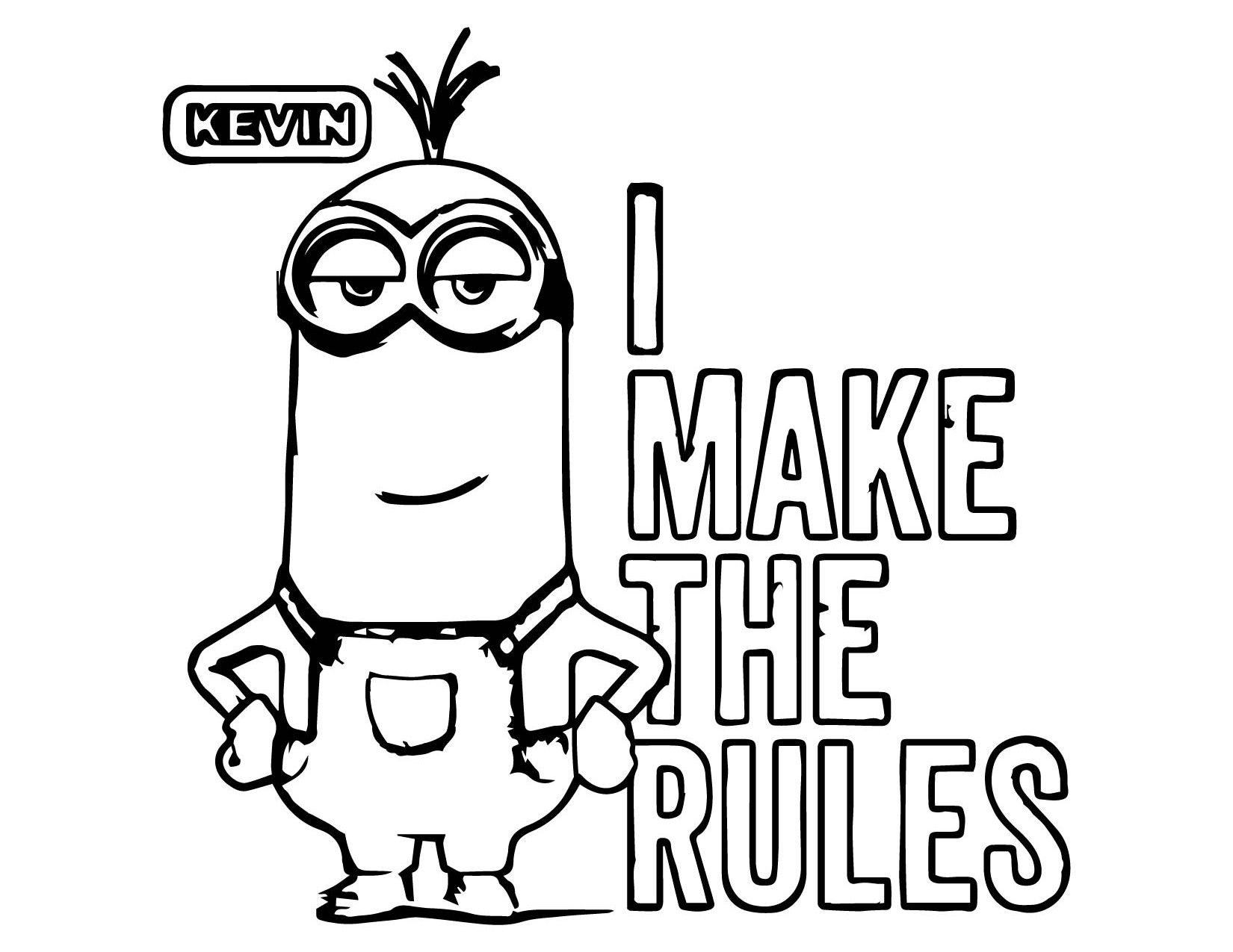 minion coloring pages printable - minion i make the rules kevin coloring page