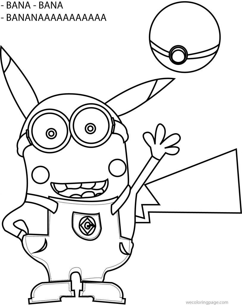 Minion pikachu banana pokemon coloring page for Minion banana coloring pages
