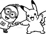 Minion Pikachu Dance Pokemon Coloring Page