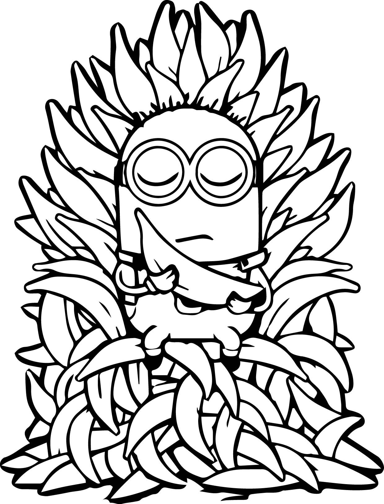 Minion throne banana meditation coloring page for Banana color page