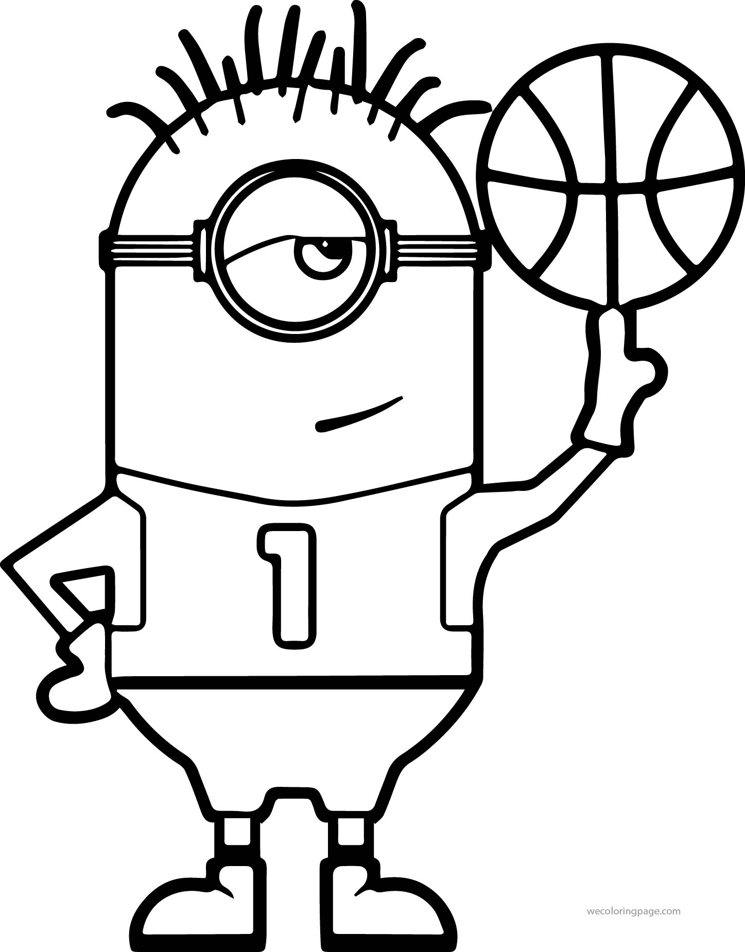 Minion Turn Basketball Coloring Page