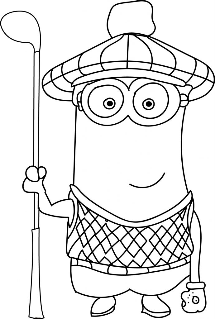 Minions coloring pages peace minion ~ Minion Waiting Golf Coloring Page | Wecoloringpage.com