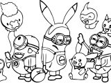 Minions Pokemon Family Coloring Page