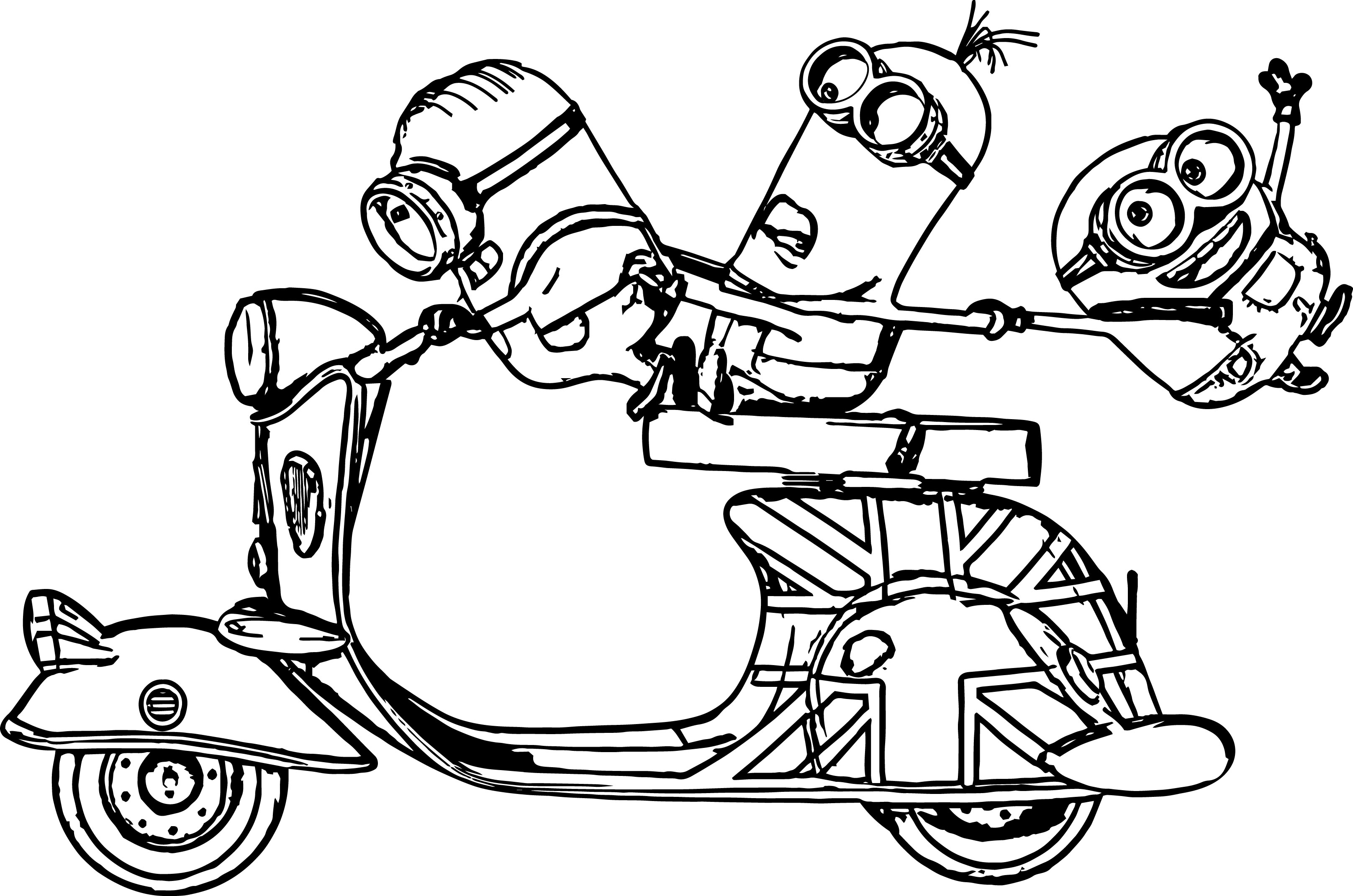 minions scooter bob kevin stuart despicable me coloring page - Minion Coloring Pages