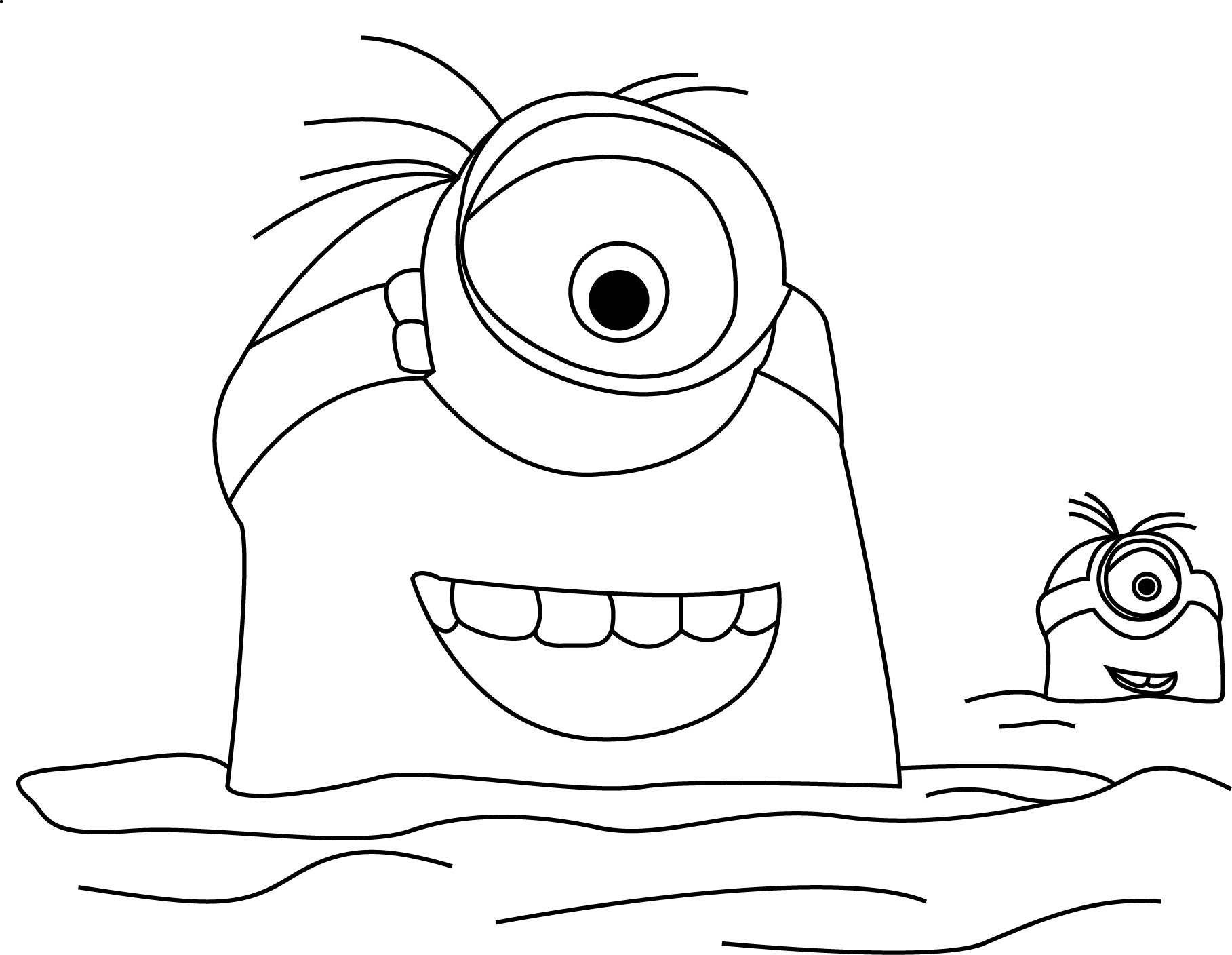 Minions Trailer In The Sea Coloring Page