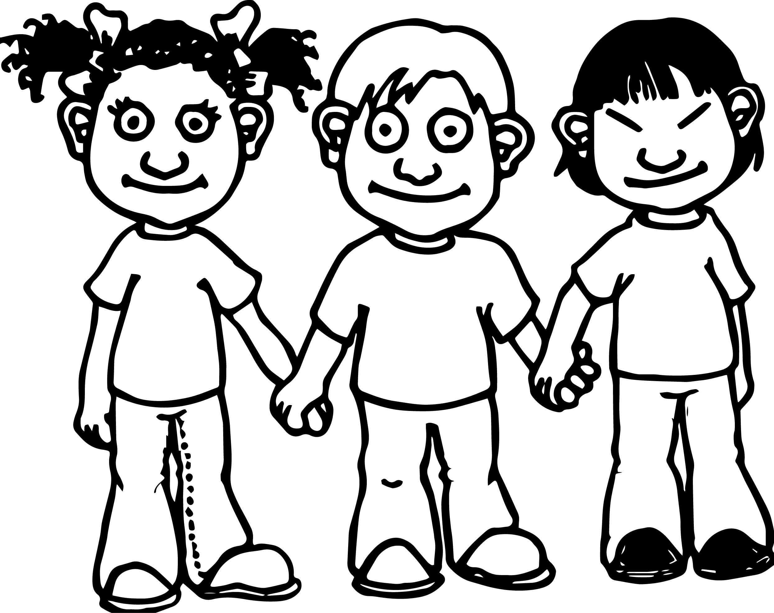 National Three Boy Children Kids Coloring Page