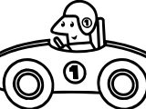 One Number Old Race Car Coloring Page