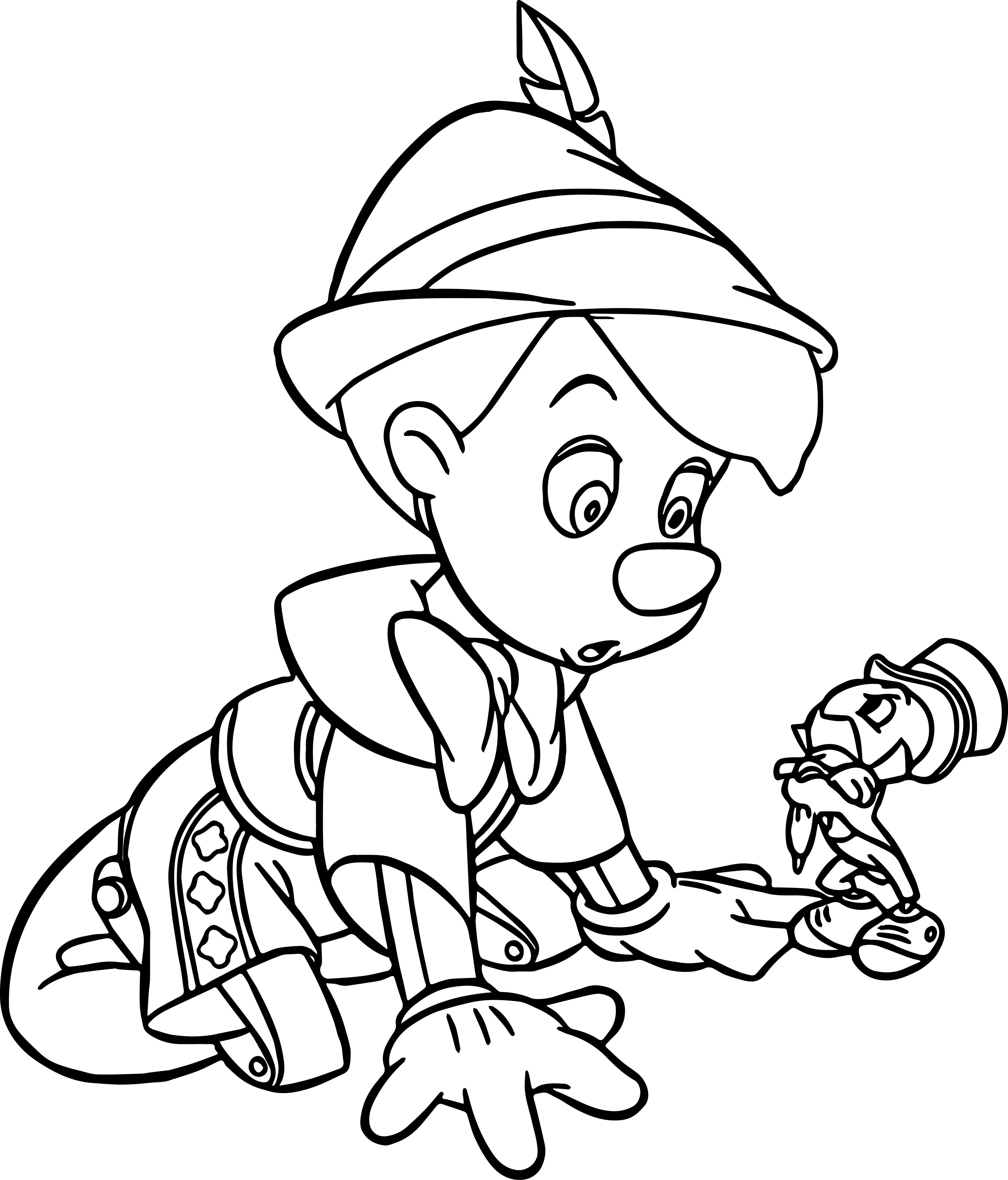 Pinocchio And Jiminy Coloring Page