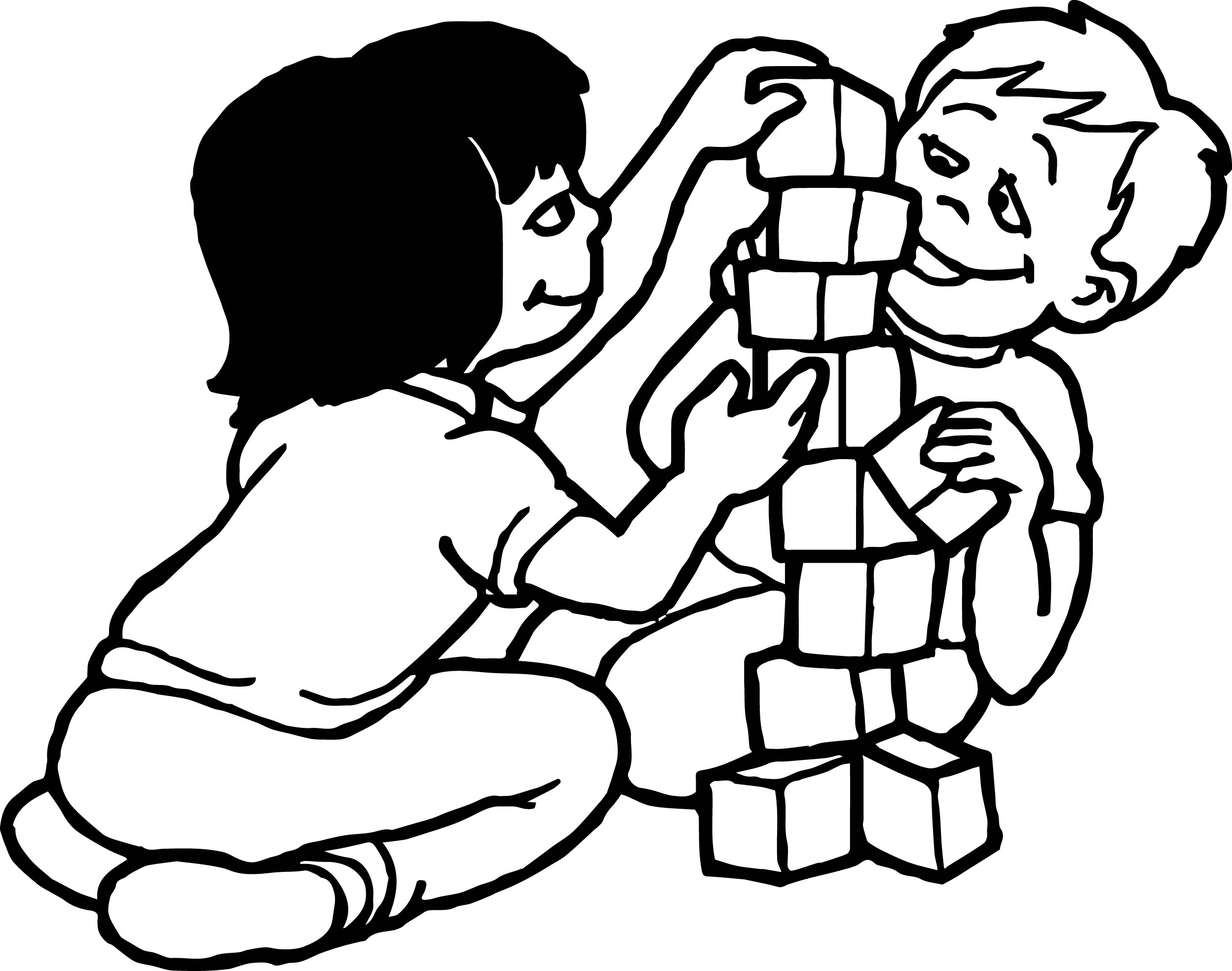 Playing Children Activity Coloring Page
