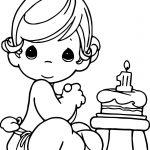 Precious Moments Happy Birthday Coloring Page