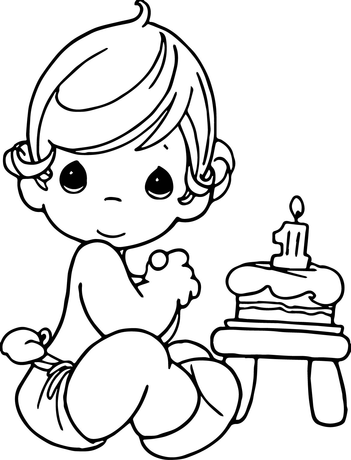 precious moments happy birthday coloring page wecoloringpage