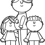 Pregnant Mom With Kids Coloring Page