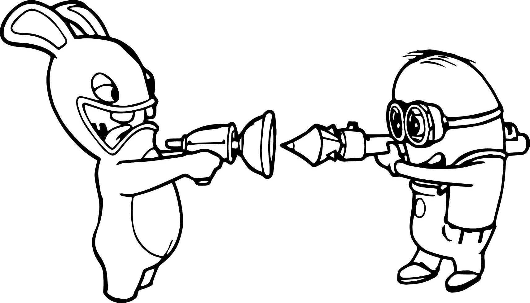 Rabbit Vs Minion Coloring Page Wecoloringpage