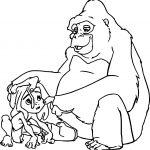 Sad Young Tarzan And Gorilla Coloring Page