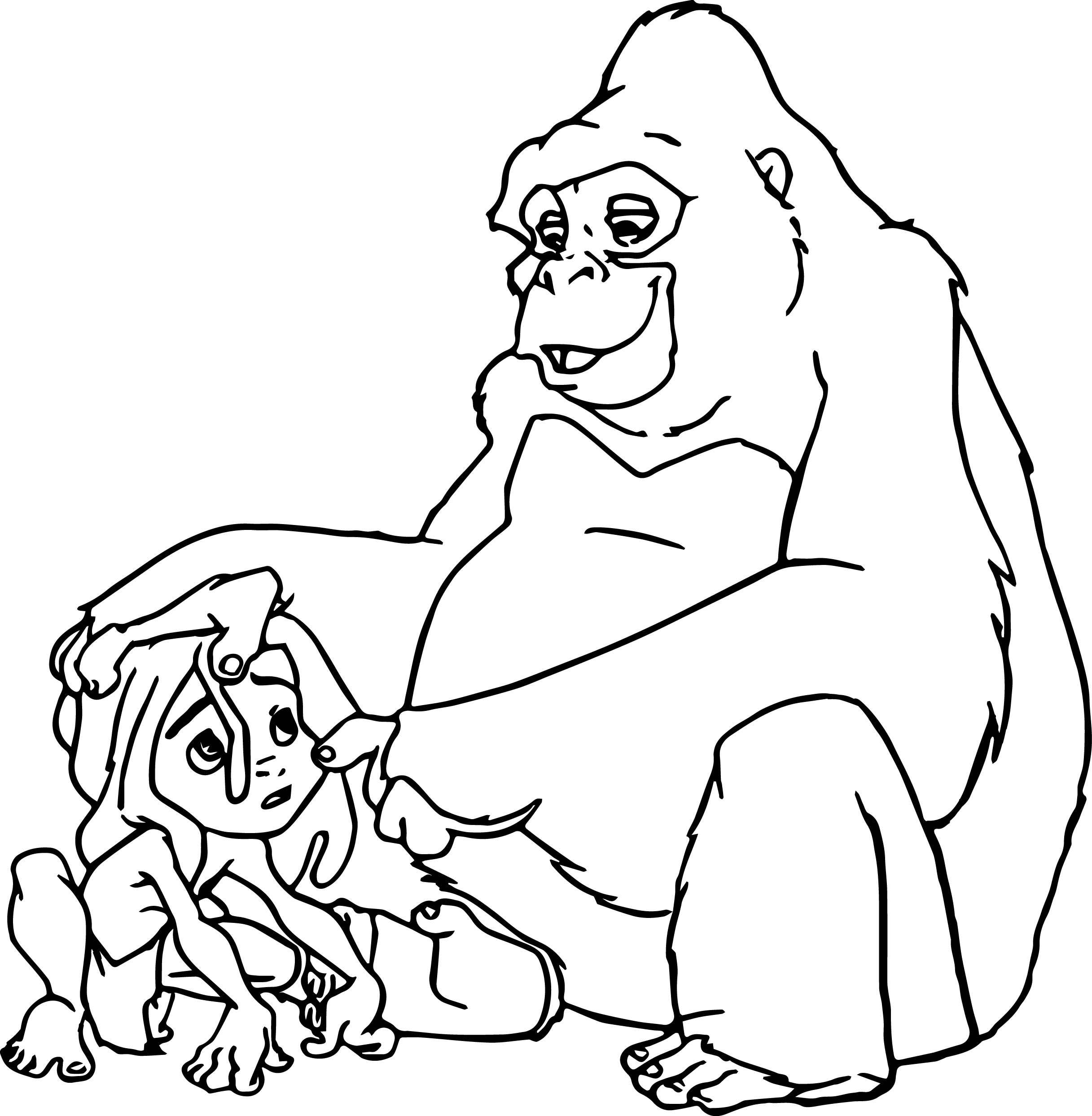 Sad young tarzan and gorilla coloring page for Tarzan coloring pages