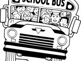 School Bus Children Coloring Page