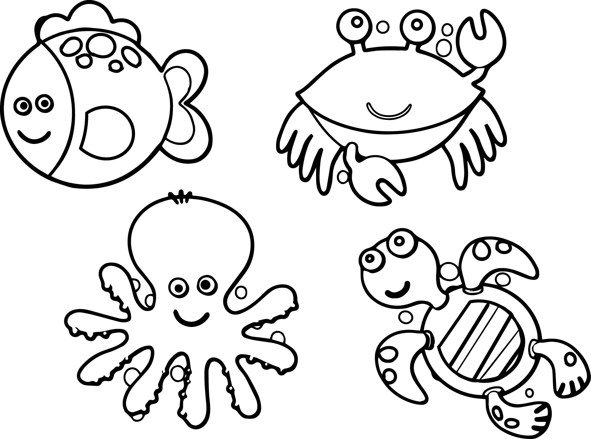 Sea life animals coloring page for Sea creature coloring page