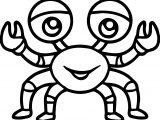 Sea Life Crab Cartoon Coloring Page