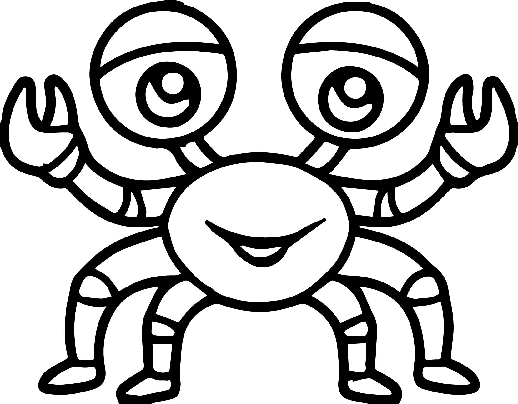 Sea Life Crab Cartoon Coloring Page