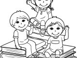 Sit Book Children Kids Coloring Page