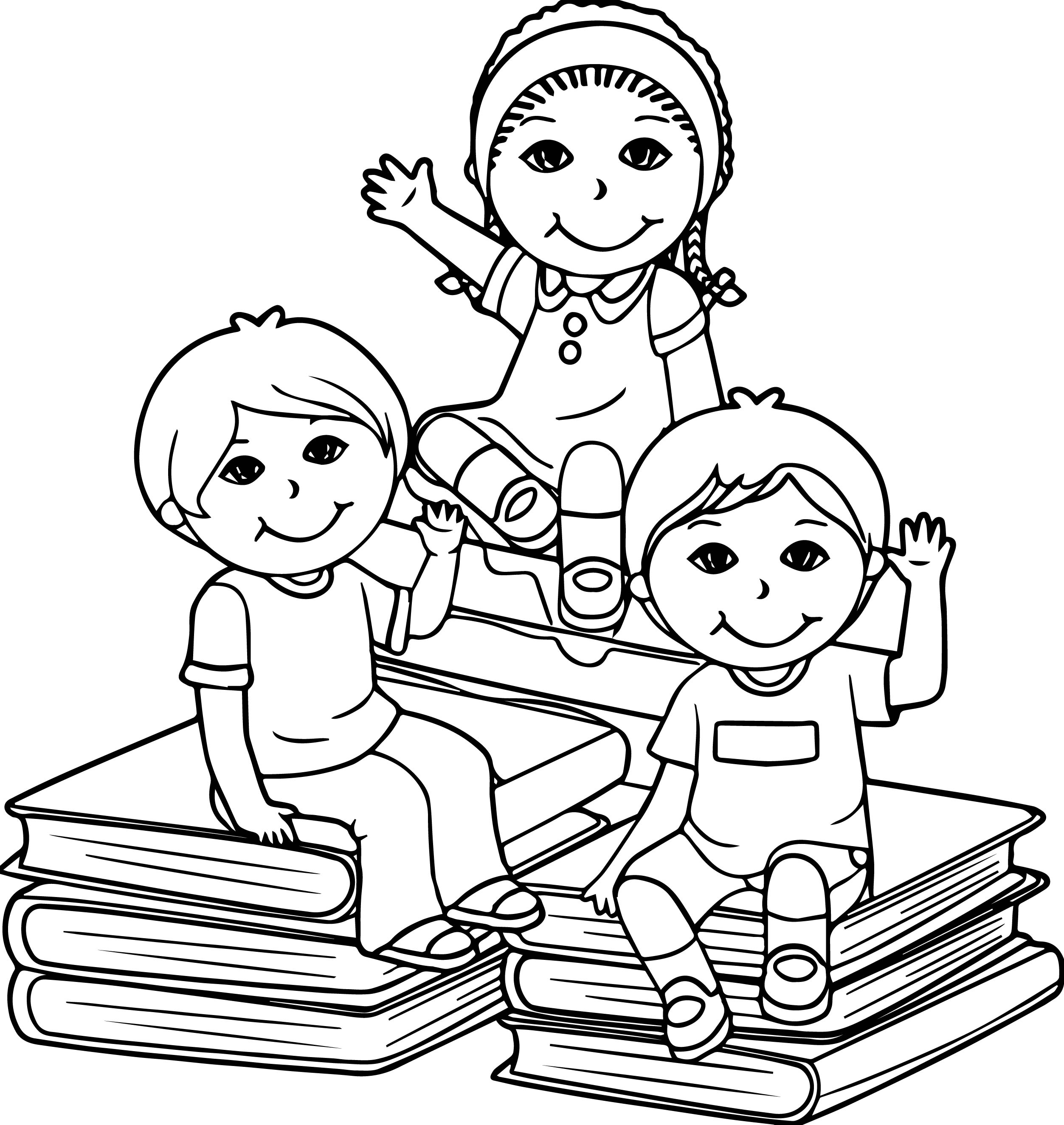 kids coloring pages - sit book children kids coloring page