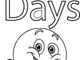Smiley Face 100 Days Coloring Page